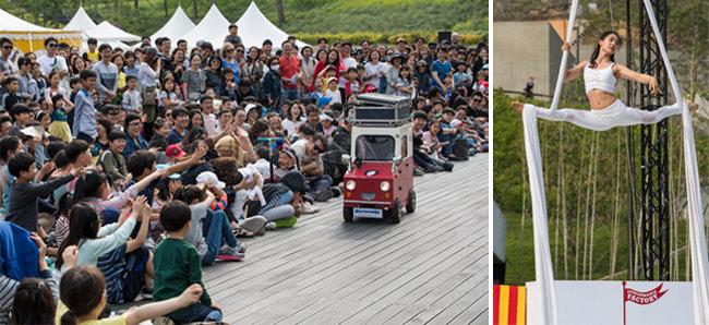 '나홀로 서커스'.(왼쪽) 서커스라는 장르에서 끝임없이 새로운 시도를 하고 있는 '퍼포먼스 팩토리'의 공중연기가 돋보이는 '서커박스'.