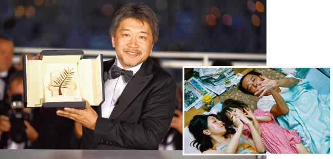 칸영화제 최고상을 수상한  '만비키 가족'의 한 장면.(오른쪽) [AP=뉴시스, 사진 제공 · IMDB]