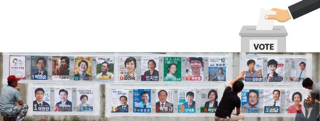 6·13 전국동시지방선구를 앞두고 서울 은평구 선거관리위원회 직원들이 선거 벽보를 붙이고 있다. [동아DB]