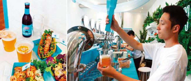 제주맥주 팝업스토어에서 즐길 수 있는 '제주 위트 에일'과 흑돼지 핫도그, 훈제통삼겹구이, 감귤크림새우꼬치(왼쪽). 제주맥주 팝업스토어에서는 '제주 위트 에일'을 생맥주로 즐길 수 있다.