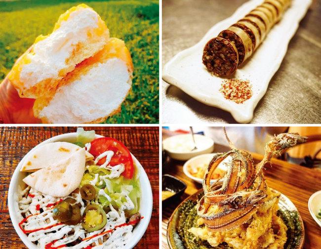 매주 주변 식당의 인기 메뉴를 선착순으로 제공하는 이벤트도 열린다. '소금크림빵' '창도름순대' '갈치튀김' '램오버라이스'(왼쪽 위부터 시계 방향으로).