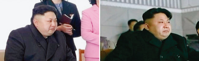 김정은 북한 국무위원회 위원장이 평양 육아원 원아들의 공연과 수산사업소 예술소조원의 공연을 보면서 눈물을 흘리는 모습(왼쪽부터). [조선중앙TV]