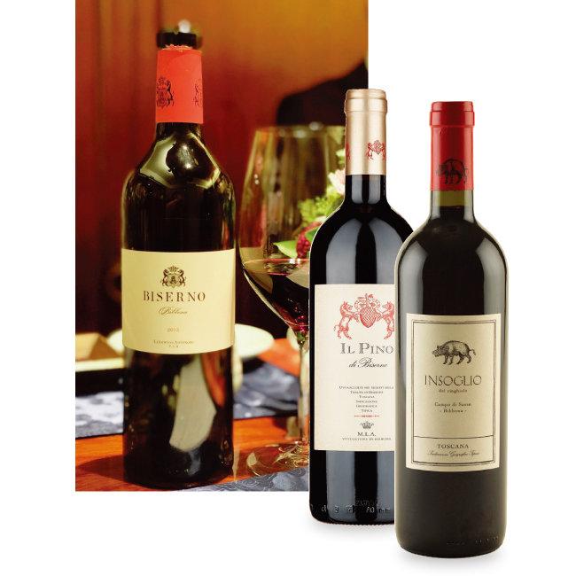 테누타 디 비세르노의 대표 와인에 속하는 비세르노, 실크처럼 매끈한 질감이 매력적인 일 피노 디 비세르노, 가장 저렴하지만 맛에서는 명품 와인 못지않은 정교함이 느껴지는 인솔리오 와인(왼쪽부터). [사진 제공 · 나라셀라㈜]