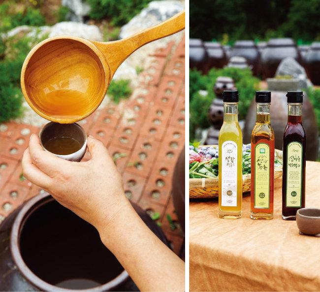 신재숙식초마당 식초는 철마다 산과 들에서 자라는 산야초를 이용해 발효·숙성시킨 것으로, 싱그러운 향과 부드러운 맛이 특징이다. [김도균 기자]