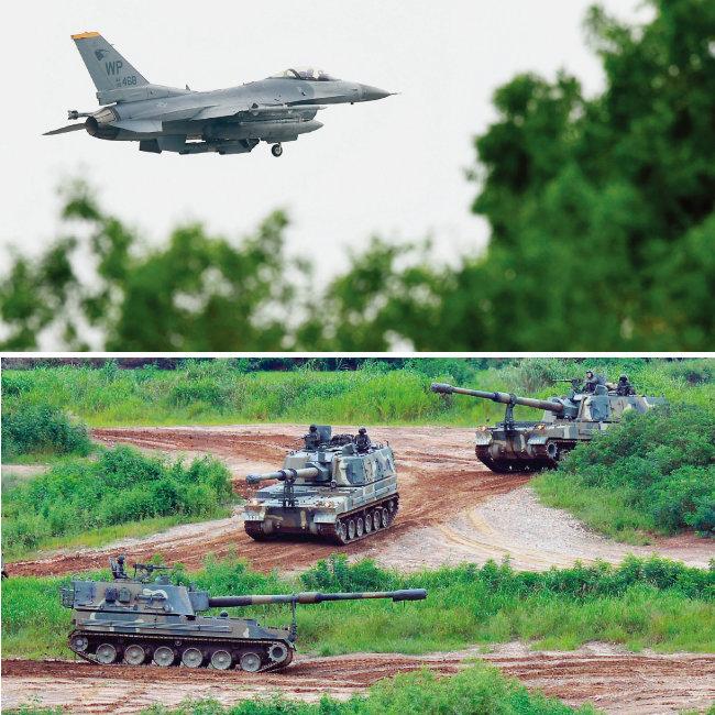 북한은 한미연합훈련을 핑계로 어렵게 마련된 남북, 북·미 관계를 차단할 수 있다. 도널드 트럼프 미국 대통령은 재빨리 을지프리덤가디언(UFG) 중단을 결정해 북한의 '먹튀'를 막아버렸다. '2018 맥스선더' 한미연합공중훈련에서 비행 중인 F-16 전투기(위)와 UFG에 참가한 K-9 전차의 기동훈련 모습. [뉴시스]