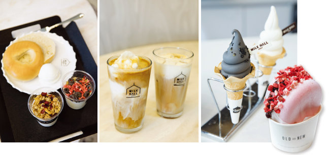 매장에서 판매하는 베이글과 리코타치즈, 요구르트. 인기 메뉴인 코코넛 라테와 크림폼 라테. 블랙 그레인 아이스크림과 밀크 소프트 아이스크림. 밀크 모나카 아이스크림(왼쪽부터).