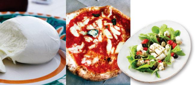 당일 아침에 만든 믈소젖 모차렐라, 모차렐라가 올라간 마르게리타 피자, 카프리 섬 스타일의 모차렐라 샐러드.(왼쪽부터)