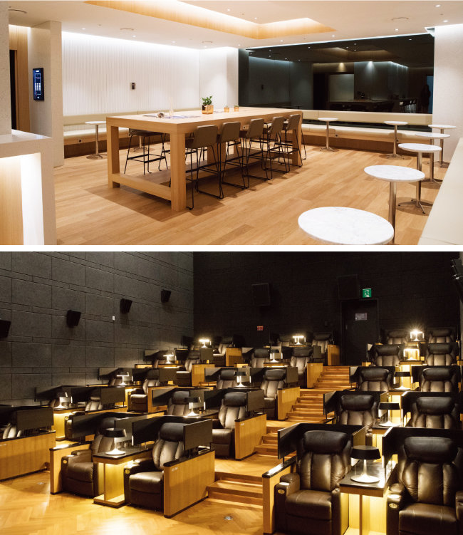 카페처럼 꾸며놓은 관객 대기공간(위)과 씨네Q 신도림점 7관 내부 모습. 경쟁사 VIP 상영관과 비슷한 시설에 요금은 40% 정도다.