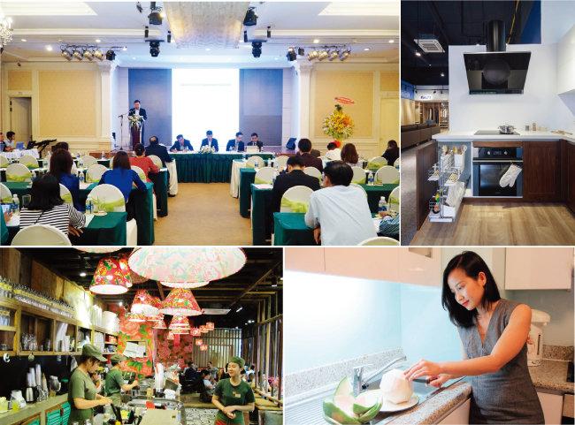 그린에그의  베트남 파트너사인 BCG그룹의 연차보고대회, 플렉스핏 가구전시장, 3콤마캐피탈의 포멜로와 콩카페(왼쪽 위부터 시계방향으로).
