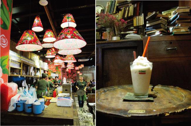 호찌민 빈콤센터 지하 2층에 자리한 '콩카페'(왼쪽)와 콩카페 대표 음료인 '코코넛커피'.
