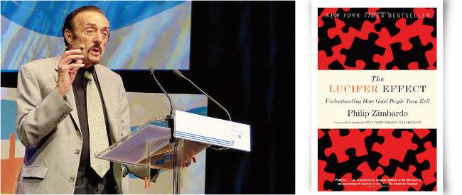 필립 짐바르도 교수(왼쪽)와 그가 출간한 '루시퍼 효과' 책표지. [위키피디아]