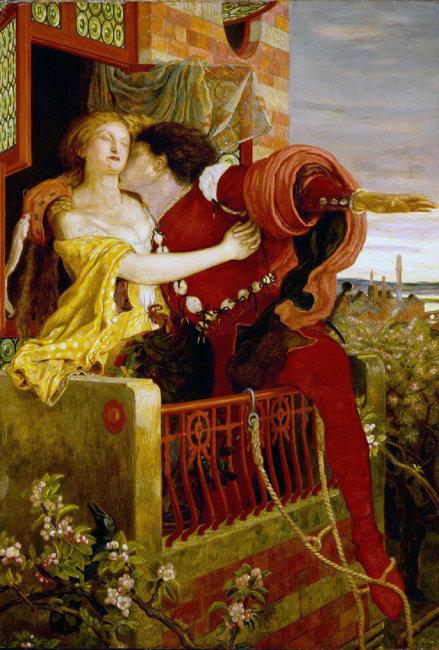 영국 화가 포드 매독스 브라운의 '로미오와 줄리엣'(1870년 무렵). 셰익스피어 희곡의 발코니 장면을 그렸다. [위키피디아]