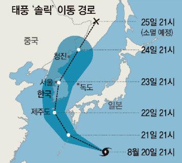 태풍 '솔릭'의 예상 이동 경로. [동아DB]