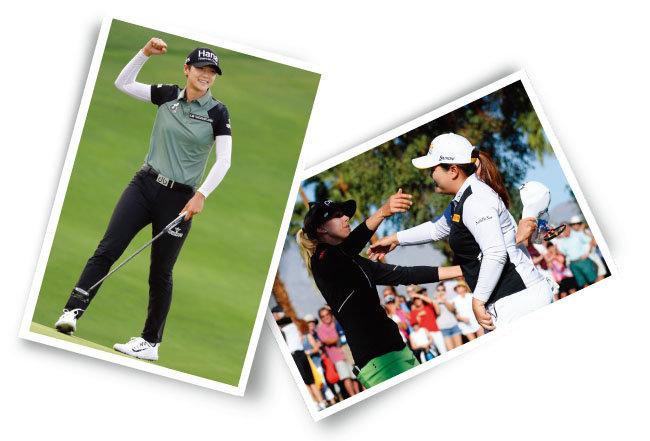 8월 20일 LPGA투어 '인디 위민 인 테크 챔피언십' 마지막 날 연장전에서 우승한 박성현(왼쪽). ANA 인스퍼레이션 연장전에서 박인비가 혈투 끝에 우승을 차지한 페르닐라 린드베리에게 축하인사를 하고 있다. [AP=뉴시스, 사진 제공 · LPGA]
