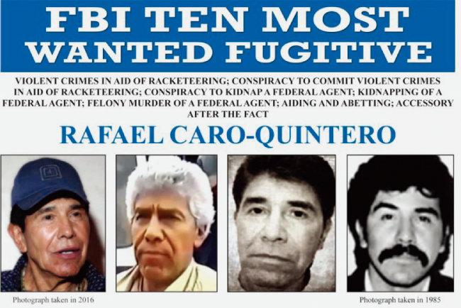 미국 연방수사국(FBI)의 라파엘 카로 킨테로 지명수배 사진. [AP=뉴시스]