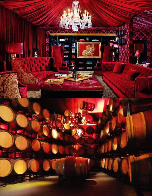 레이몬드 빈야드의 레드 룸. 와인을 마시며 특별한 모임을 가질 수 있는 공간이다.(위) 레이몬드 빈야드의 배럴 룸. 배럴에 담긴 와인이 숙성되는 곳이다. [사진 제공 · ㈜국순당]