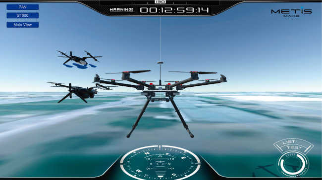 지상에서 군집비행 드론을 통제하는 가상 소프트웨어. [동아DB]