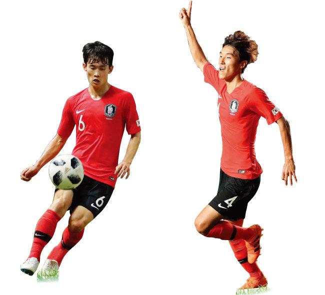 아시아경기에서수비수로 포지션 전환에 성공한 김문환(왼쪽)과 김진야. [뉴스1]