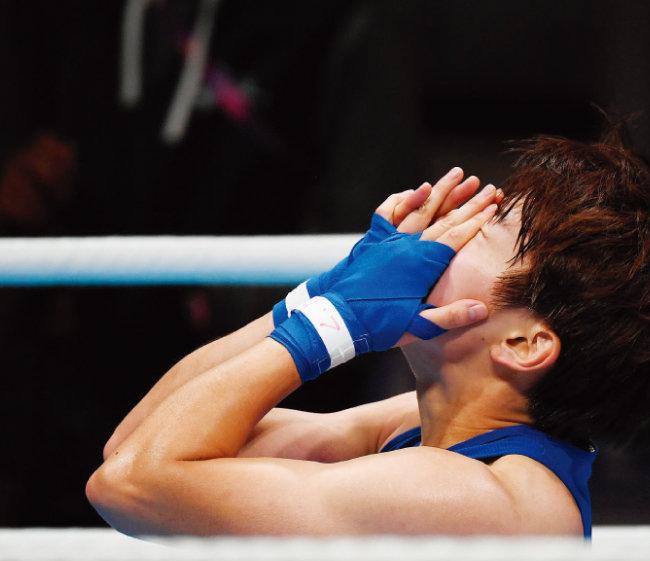 아시아경기에서 대한민국 여자 복싱 사상 첫 금메달을 차지한 오연지. [뉴스1]