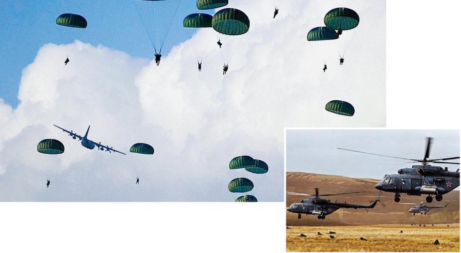 러시아 공수부대원들이 낙하훈련을 실시하는 모습(위)과 헬기로 적진 침투훈련을 하는 모습. [러시아 국방부]