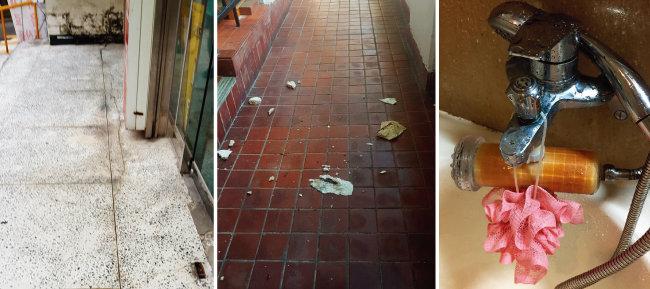 단지 곳곳에서는 금이 가고 깨진 흔적을 쉽게 찾을 수 있다. 단지 내 배관이 녹슬어 가구별로 정수 기기를 갖추지 않고서는 샤워를 하기도 힘든 상황이다. 샤워기 손잡이 부분의 정수 필터는 누렇게 변색됐다. [사진 제공 · 여의도 시범아파트 정비사업위원회]