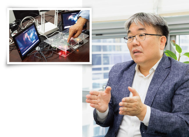 사물인터넷(IoT), 보안반도체(MS500)를 활용한 드론 영상 송수신 시연 모습. [지호영 기자]