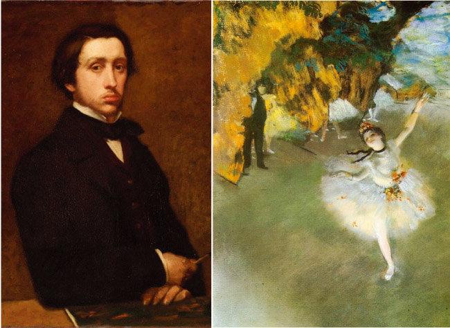 에드가 드가의 '별'(L'Etoile·1877·오른쪽). 무대 뒤로 검은 턱시도의 남성이 어른거린다. 왼쪽은 드가의 '자화상'(1863). [www.edgar-degas.net, 위키피디아]