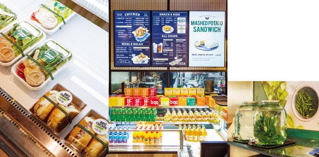 브런치를 즐기는 주부나 대학생을 대상으로 한 샐러드와 사이드 메뉴도 판다. (왼쪽) 허브와 레몬이 들어간 물. 매장에서 따로 식사하지 않아도 마실 수 있다.