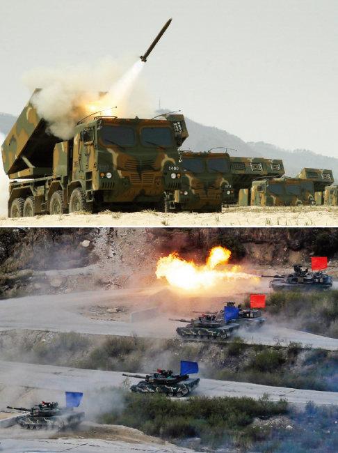 다련장로켓 '천무' 훈련 모습(위)과 기동훈련을 하고 있는 육군 전차부대. [동아DB]