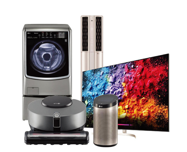 인공지능 기술이 장착된 LG전자의 LG 씽큐 라인업. LG 트롬 씽큐 드럼세탁기, LG 휘센 씽큐 에어컨, LG 올레드 TV AI 씽큐, LG 씽큐 허브, LG 코드제로 R9 씽큐(왼쪽부터 시계 방향으로). [사진 제공 · LG전자]