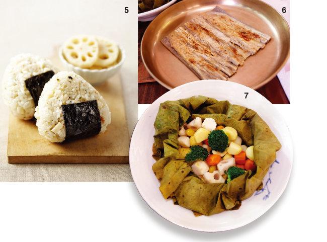 5 연근 주먹밥, 6 우엉전, 7 가을 채소 연잎 쌈. [사진 제공·김민경]