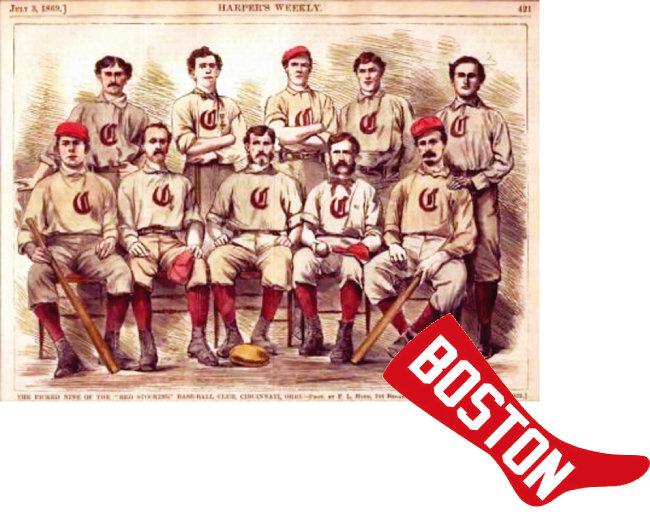 최초의 프로야구단 신시내티 레드스타킹스 선수들('최초의  10인')을 촬영한 흑백사진을 리터치한 하퍼스 위클리의 그림(위)과 1908년 보스턴 레드삭스가 팀 유니폼 한가운데 달고 나온 빨간 양말 로고. [하퍼스 위클리·위키디피아]