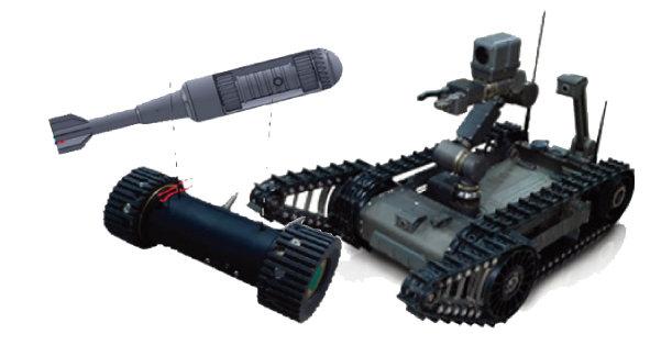 최루탄이나 고폭탄을 탑재할 수 있는 SG로봇(왼쪽)과 급조폭발물 제거로봇. 둘 다 한화지상방산의 최신 무기다.