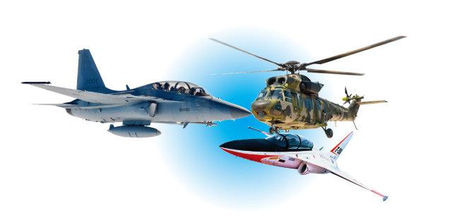 KAI가 개발한 FA-50, 수리온, T-50, (왼쪽부터 시계 방향으로).