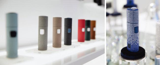 '릴 미니멀리움'에서는 전자담배 기기 외에도 각종 액세서리를 판매한다(왼쪽). 스와로브스키 크리스털로 장식된 '릴 크리스털 에디션' 한정판.