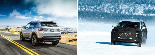 미국, 중국 등을 중심으로 대형 SUV 판매가 늘고 있다. FCA의 지프(Jeep·왼쪽)와 11월 말 정식 공개되는 현대자동차 '팰리세이드'. [뉴스1, AP]