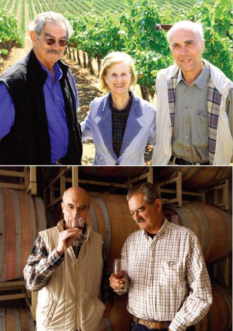 래리 하이드, 패밀라 하이드, 오베르 드 빌렌(왼쪽부터). (위) 배럴룸에서 와인을 시음하는 래리(오른쪽)와 오베르. [사진 제공 · ㈜씨에스알와인]