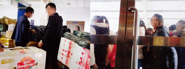 중국 단둥시 해관(세관)에는 통관할 물건들을 잔뜩 싣고 온 북한인들(왼쪽)과 단둥 지역 임가공업체에서 일하다 비자 만료로 귀국하려는 여성 노동자들이 몰려들고 있다. [윤완준 동아일보 기자]