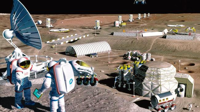 미국 항공우주국(NASA)이 제작한 미래의 달 기지 상상도. [NASA]
