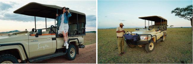 사파리 투어를 하는 모습. (왼쪽) 이동용 차량에도 간단한 음료가 마련돼 있다.