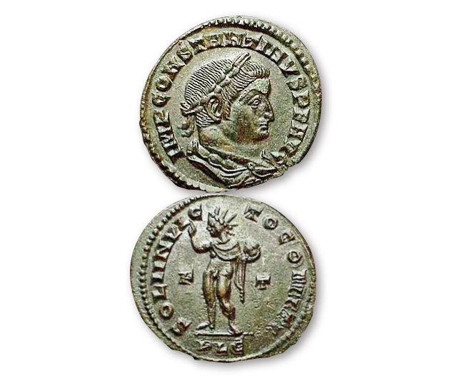 콘스탄티누스 황제의 얼굴을 앞면에, 태양신 솔 인빅투스를 뒷면에 새긴 동전. [위키미디어]