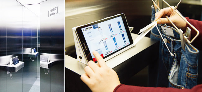 바코드 스캐너를 활용하면 피팅룸에서 마음에 드는 제품을 바로 살 수도 있다. (왼쪽) 랩원오원 매장은 결제 가능한 자신의 카드를 출입증처럼 카드 리더기에 인식해야 들어갈 수 있는 구조다.