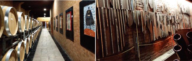 현대적인 미술품으로 장식된  미켈레 키아를로의 와인숙성실. (왼쪽) 바바의 와인숙성실 한쪽 벽면을 장식하고 있는 재즈 월 작품. [사진 제공 · 김상미]