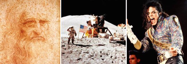 서거 500주기를 맞는 레오나르도 다비치의 자화상, 1969년 7월 20일 닐 암스트롱에 이어 달 표면에 발을 내디딘 에드윈 올드린, 서거 10주기를 맞는 마이클 잭슨. (왼쪽부터) [위키미디어커먼스, AP=뉴시스]