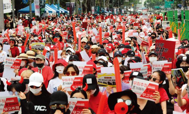 2018년 6월 서울 혜화역에서 열린 불법촬영 편파수사 규탄 시위 현장. [동아DB]