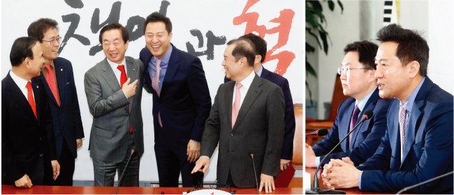 오세훈 전 서울시장(가운데)이 2018년 11월 29일 국회에서 열린 입당 행사에서 김병준 비상대책위원장(오른쪽)과 김성태 원내대표(왼쪽에서 세 번째)의 환영을 받으며 웃고 있다. (왼쪽) 입당식 후 가진 기자회견 모습. [동아DB]