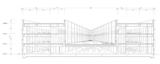 송학관 투시도. 중정 공간이 건물 2, 3층 위에 붕 떠 있는 것을 확인할 수 있다.