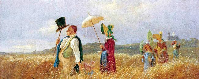 비더마이어 화풍의 대표작인 독일 화가 카를 스피츠베크의 '일요일 산책'(1841). [위키미디어]
