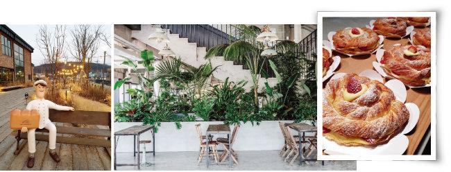 '어 로프 슬라이스 피스'의 정감 있는 입구, 마치 식물원처럼 넓고 탁 트인 내부 모습, 차와 먹기 좋은 몽블랑. (왼쪽부터) [사진 제공 · 김민경]