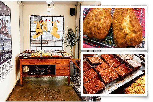 바로 나온 다양한 빵이 놓인 '스코프'의 매장 진열대. (왼쪽) 스코프의 시그니처 메뉴인 스콘. (오른쪽 위) 쌉싸래한 초콜릿 맛이 일품인 브라우니. [사진 제공 · 김민경]